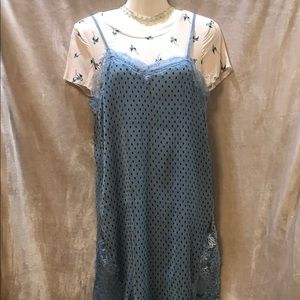 Free People 2 Layer Blue Strap/&Violet Print Dress